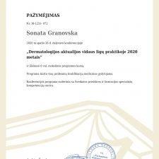 Sonata Granovska- sertifikatas 2020